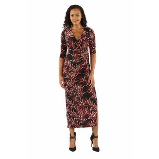 24/7 Comfort Apparel Women's Stunning Silky Bamboo Print Maxi Dress