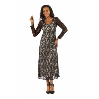 24/7 Comfort Apparel Women's Lace Crisscross Maxi Dress