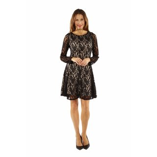 24/7 Comfort Apparel Women's Lace and Fire Midi Dress