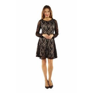 24/7 Comfort Apparel Women's Lace and Fire Midi Dress|https://ak1.ostkcdn.com/images/products/12834138/P19600287.jpg?impolicy=medium