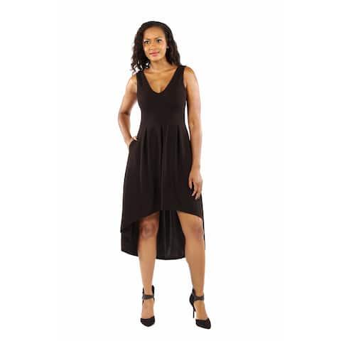 24/7 Comfort Apparel Women's Enchanting Black Princess High Low Dress