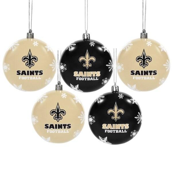 New Orleans Saints NFL 5 Shatterproof Ball Ornaments