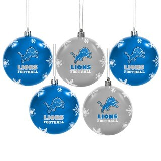 Detroit Lions NFL 5 Pack Shatterproof Ball Ornaments