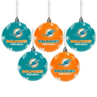 Miami Dolphins NFL 5 Pack Shatterproof Ball Ornaments