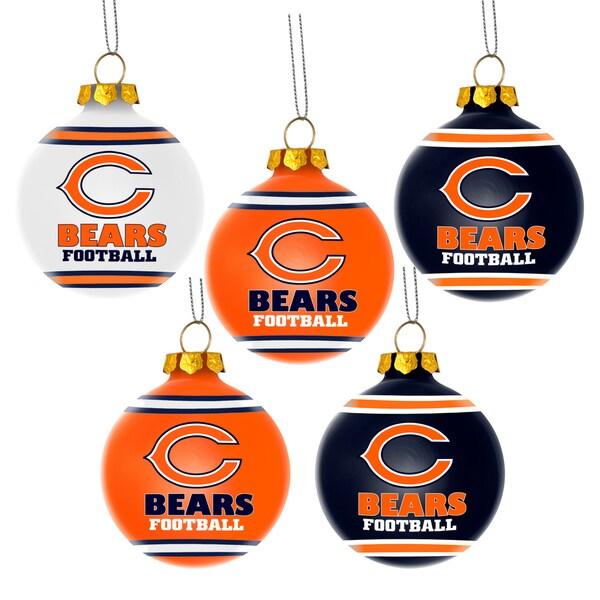 Chicago Bears NFL 5 Pack Shatterproof Ball Ornaments