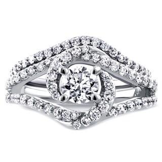 Annello by Kobelli 14k White Gold 1 1/5ct TDW Round Diamond Crossover Swirl Bridal Set