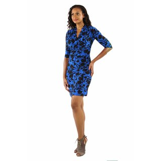 Alluring Blue Ocean Midi Faux Wrap Dress