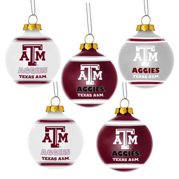 Texas A and M Aggies NCAA 5 Shatterproof Ball Ornaments