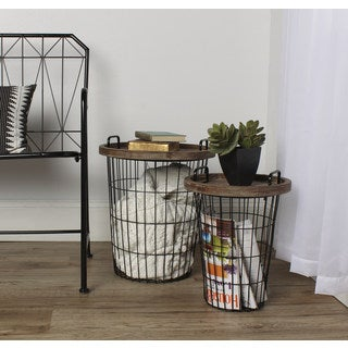 Carbon Loft Brown Metal/ Wood Tray Nesting Accent Tables