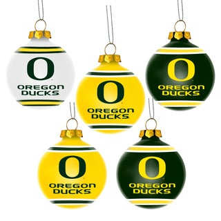 Oregon Ducks NCAA 5 Pack Shatterproof Ball Ornaments