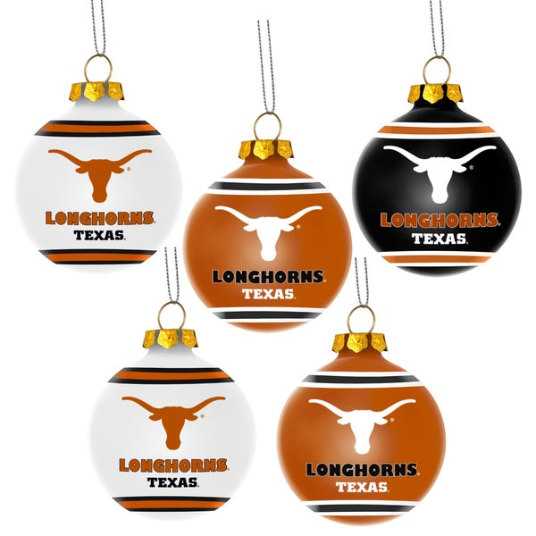 Texas Longhorns NCAA 5 Pack Shatterproof Ball Ornaments