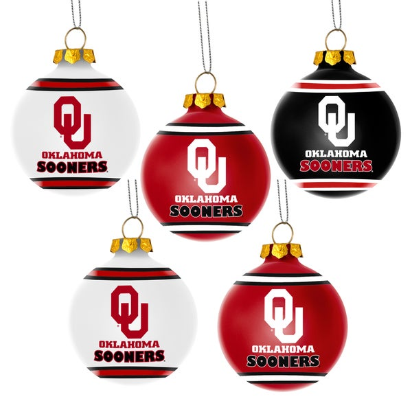 Oklahoma Sooners NCAA 5 Shatterproof Ball Ornaments
