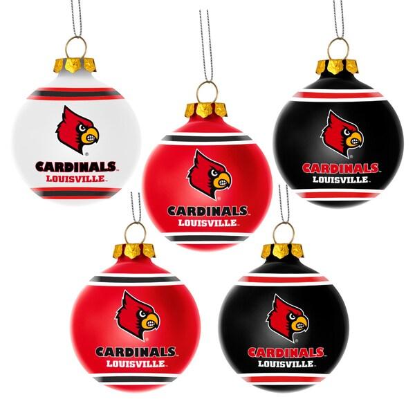 Louisville Cardinals NCAA 5 Shatterproof Ball Ornaments