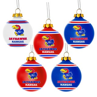 Kansas Jayhawks NCAA 5 Shatterproof Ball Ornaments