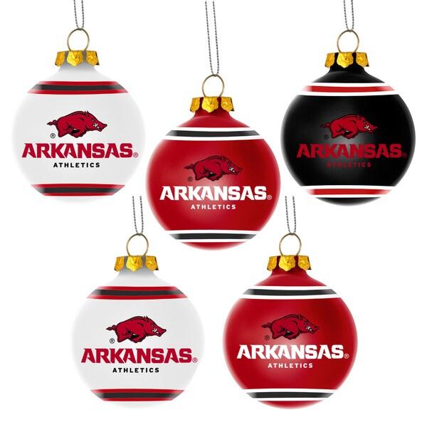 Arkansas Razorbacks NCAA 5 Shatterproof Ball Ornaments