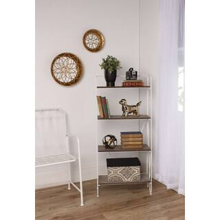 Thornberry Rustic Wood and Metal Modern Bookshelf (Option: White)|https://ak1.ostkcdn.com/images/products/12834232/P19600321.jpg?impolicy=medium