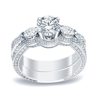 Auriya Platinum 4/5ct TDW Three-Stone Vintage Bridal Ring Set (H-I, SI1-SI2)