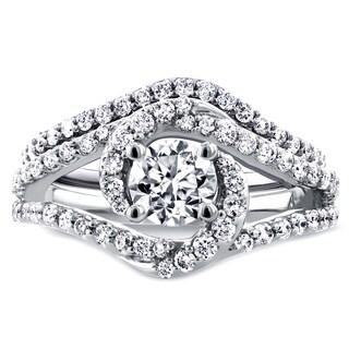 Annello 14k White Gold 1 7/8ct TDW Round Diamond Crossover Swirl Bridal Set (H-I, I1-I2)