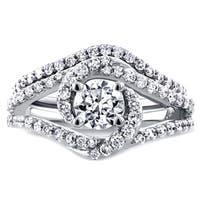 Annello by Kobelli 14k White Gold 1 7/8ct TDW Round Diamond Crossover Swirl Bridal Set