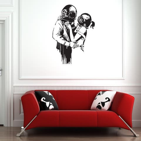 Banksy 'Deep Love' wall decal, sticker, mural, vinyl art home decor