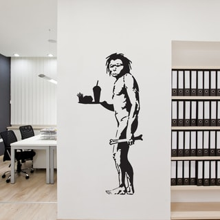 Style and Apply 'Caveman Eating Fast Food' Banksy Vinyl Wall Decal