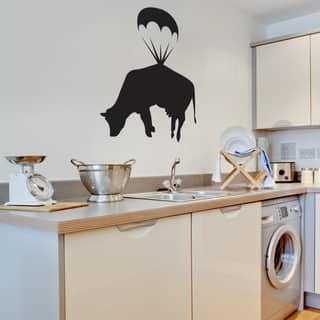 Banksy 'Parachuting Cow' Vinyl Wall Decal https://ak1.ostkcdn.com/images/products/12834273/P19600400.jpg?impolicy=medium