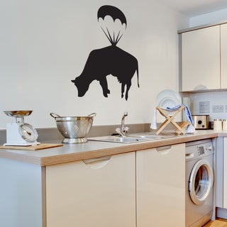 Banksy 'Parachuting Cow' Vinyl Wall Decal