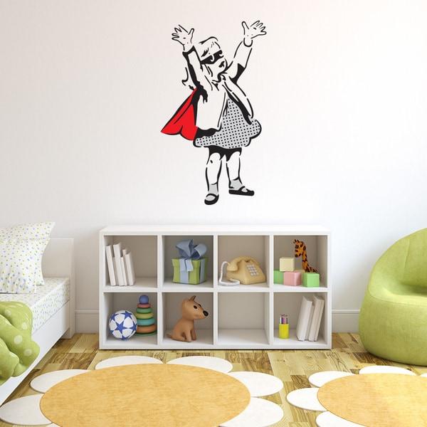 Banksy \'Super Girl\' Vinyl Wall Art - Free Shipping Today - Overstock ...