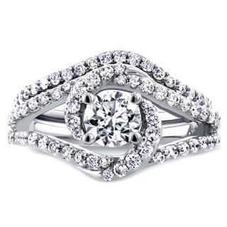 Annello by Kobelli 14k White Gold 1 7/8ct TGW Round Moissanite (HI) and Diamond Crossover Swirl Bridal Set (More options available)