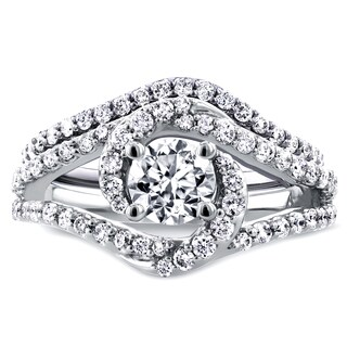 Annello 14k White Gold 1 7/8ct TCW Round Moissanite and Diamond Crossover Swirl Bridal Set (H-I, I1-I2)
