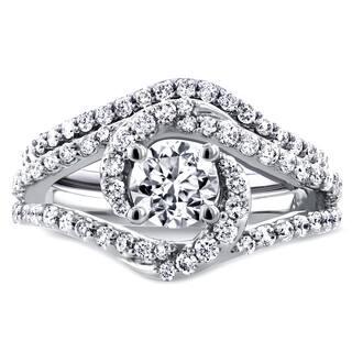 Annello by Kobelli 14k White Gold 1 7/8ct TGW Round Moissanite and Diamond Crossover Swirl Bridal Set