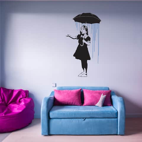 Style and Apply 'Umbrella Girl' Banksy Blue/Black Vinyl Wall Decal