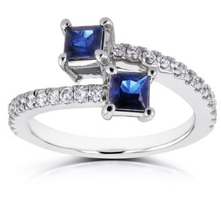 Annello by Kobelli 14k White Gold 7/8ct TCW Sapphire and Diamond Two Stone Wrap Over Ring