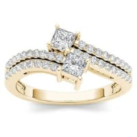 De Couer 14k Yellow Gold 3/4ct TDW Two-Stone Diamond Engagement Ring