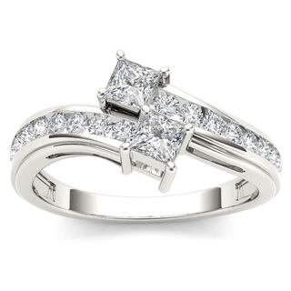 De Couer 14k White Gold 3/4ct TDW Two-Stone Diamond Engagement Ring