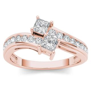 De Couer 14k Rose Gold 3/4ct TDW Two-Stone Diamond Engagement Ring - Pink