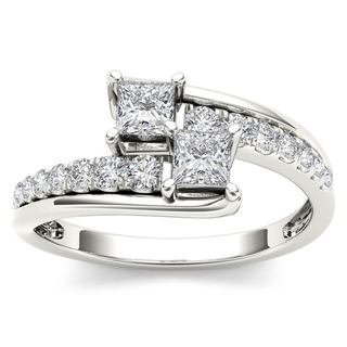 De Couer 14k White Gold 5/8ct TDW Two-Stone Diamond Engagement Ring - White H-I