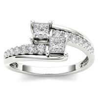 De Couer 14k White Gold 5/8ct TDW Two-Stone Diamond Engagement Ring - White H-I