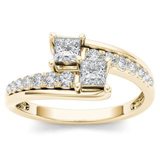 De Couer 14k Yellow Gold 5/8ct TDW Two-Stone Diamond Engagement Ring