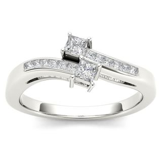 De Couer 14k White Gold 1/3ct TDW Two-Stone Diamond Engagement Ring (H-I,I2)