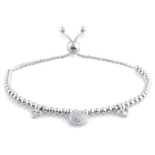 Allure Sterling Silver Diamond Accent Bolo Clasp Beaded Bracelet