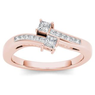 De Couer 14k Rose Gold 1/3ct TDW Two-Stone Diamond Engagement Ring (H-I,I2)