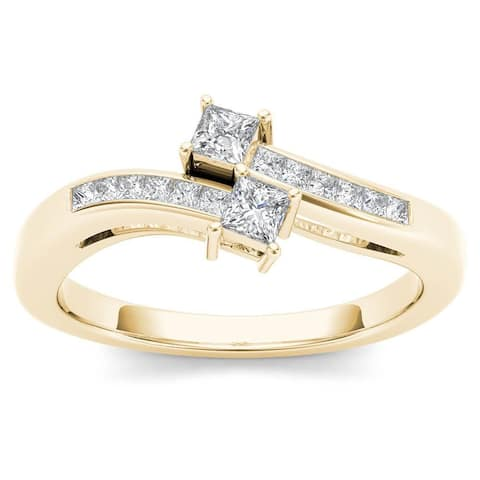 De Couer 14k Yellow Gold 1/3ct TDW Two-Stone Diamond Engagement Ring