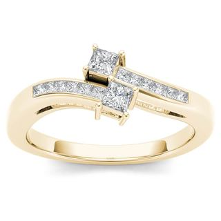 De Couer 14k Yellow Gold 1/3ct TDW Two-Stone Diamond Engagement Ring (H-I,I2)