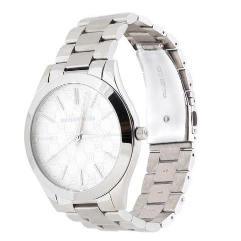 Michael Kors Women's 'Slim Runway' MK Logo Stainless Steel Watch