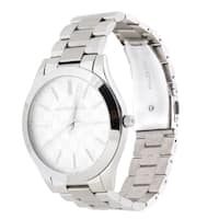 Michael Kors Women's  'Slim Runway' MK Logo Stainless Steel Watch