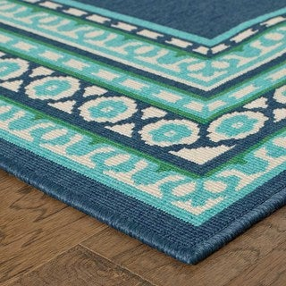 Shop Beautiful Borders Navy Green Indoor Outdoor Area Rug