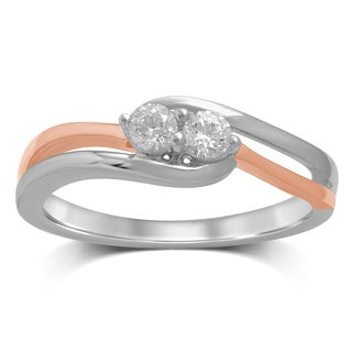 Unending Love 14K White/Rose Gold Diamond Fashion Ring - White