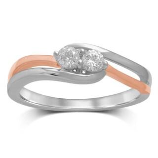 Unending Love Women's 14K Two-Tone Gold 1/4 ctw Diamond Engagement Ring - White