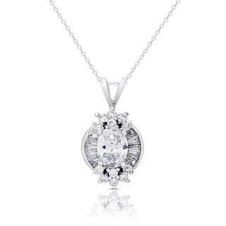 Dolce Giavonna Silver Overlay Cubic Zirconia Necklace